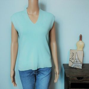 Coldwater Creek Knit Shell Shirt Top Mint Green